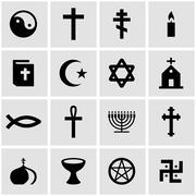 Vector black religion icon set Stock Illustration