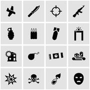 Vector black terrorism icon set Stock Illustration