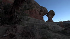 Devil's Garden hoodoos after sunset, Grand Staircase Escalante National Monument Stock Footage