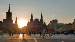 MOSCOW, RUSSIA - JUNE 23, 2016 People walk on Red Square in the evening - stock footage