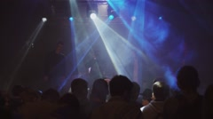 Young people smoke electronic cigarettes on party in nightclub. Vaper festival Stock Footage