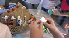 Children learning making puppets  Stock Footage