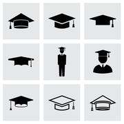 Vector black academic cap icon set Stock Illustration