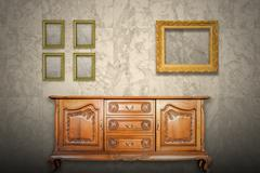 Antique cabinet wood and old picture frame Stock Photos