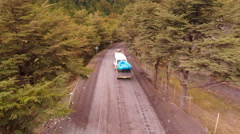 Aerial: Rafting and Kayaking Trucks Going to River in Patagonia Vacation 2K Stock Footage