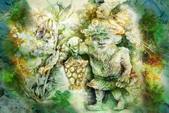 drawing of garden dwarf with lantern and healing herbs - stock illustration