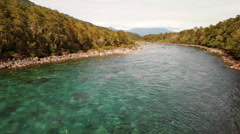 Aerial: Crystal Clear River With Kayakers and Whitewater Rafters In Patagonia 2K Stock Footage