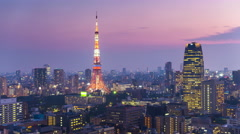 Tokyo Tower and Skyline Stock Footage