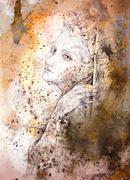 Gentle elven drawing on abstract spotted background Stock Illustration