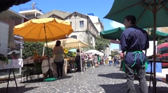 LISBON JUNE 5 2016 Farmers market with sellers wait for customers Stock Footage