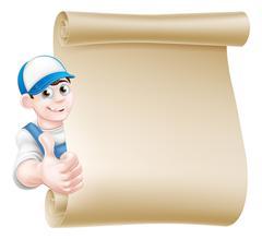 Thumbs up mechanic scroll Stock Illustration
