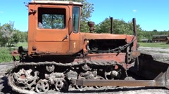 Old caterpillar tractor since Soviet times Stock Footage