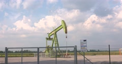 Pump Jack in the Schoonebeek oilfield Stock Footage