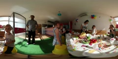 360Vr Video Kids at the Table in Kindergarten Children's Day in Opole Party - stock footage