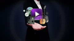 Businesswoman open palms, various Music, instrument, download contents. - stock footage