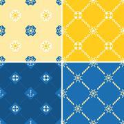Navy and nautical pattern theme, seamless pattern and background set 2 Stock Illustration