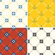 Navy and nautical pattern theme, seamless pattern and background set 4 Stock Illustration