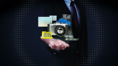 Businessman open palms, photo,picture,camera application social media contents. Stock Footage