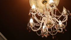 Chandelier in the palace Stock Footage