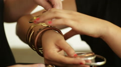 Jewelry designed bracelets Stock Footage