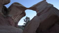Metate Arch Backpacker Girl Exploring Devil's Garden Escalante Stock Footage