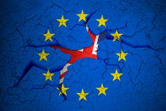 brexit blue european union EU flag on broken crack wall with hole and uk engl - stock illustration