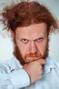 The portrait of disgusted man - stock photo