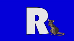 Letter R and Rat (foreground) Stock Footage