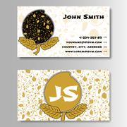 Creative Golden Business Visiting Card with Chinese pattern Stock Illustration