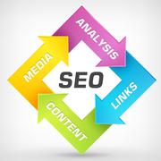 Search engine optimization vector strategy plan process - stock illustration