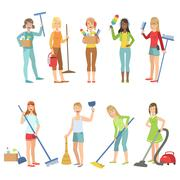 Adult People Cleaning Up Indoors - stock illustration