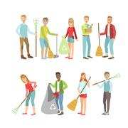 Adult People Cleaning Up Outdoors - stock illustration