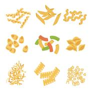 Classic Italian Pasta Types Collection Stock Illustration