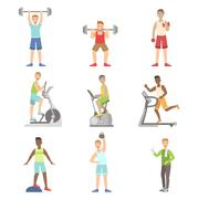 Men Training In Gym Set Stock Illustration