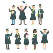 Graduating Students In Black Mantle Set Stock Illustration