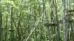 Rope way on trees through forest Stock Footage