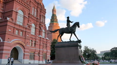 MOSCOW, RUSSIA - Monument commander Georgy Zhukov - stock footage