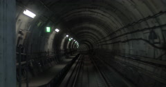 In the dark subway tunnel Stock Footage