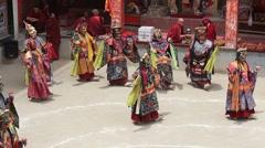 Tibetan men dressed in mystical mask dancing Tsam mystery dance , Ladakh, India Stock Footage