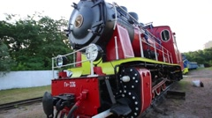 Steadycam shot of historic retro steam train in the forest Stock Footage