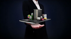 Businesswoman open palms, various security server service function for mobile. Stock Footage