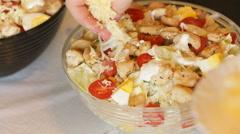 salad Caesar at home - stock footage