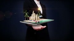 Businesswoman open palms, vacation travel, Prepare to tour on mobile Stock Footage