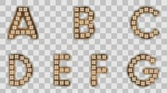 Alphabet Light Bulb Letters A-G with alpha-channel Stock Footage