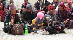 Tibetan old people spectators during Tsam mystery dance , Ladakh, India Stock Footage