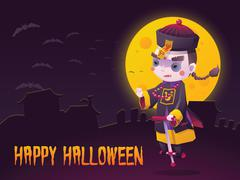 Chinese Hopping Vampire Ghost for Halloween Card Stock Illustration