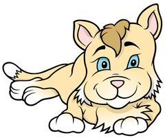 Cartoon Kitten Laying Stock Illustration