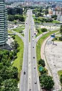 Traffic in the city, urban scene - stock photo