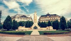 Soviet war memorial in Budapest, Hungary, vintage photo filter - stock photo