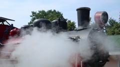 Restored steam locomotive steaming. Much of steam in frame. Stock Footage